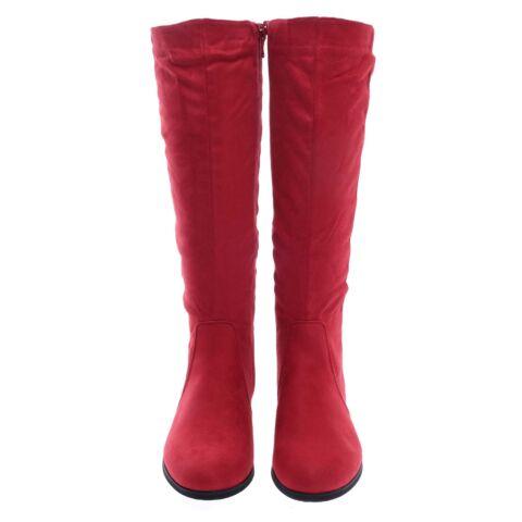Női Hosszúszárú Piros Művelúr Csizma