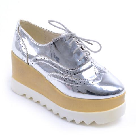 Női Lakk Platformos Cipő Ezüst