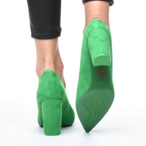 Női Zöld Művelúr Magassarkú Cipő