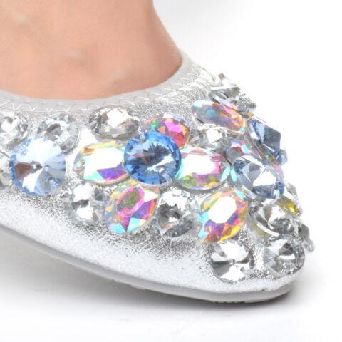Női Ezüst Köves Balerina cipő