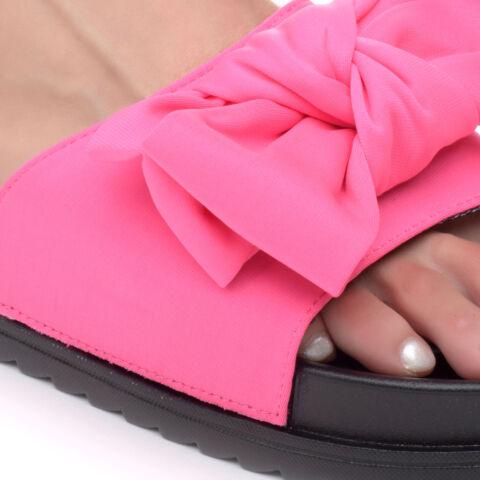 Női Neon Rózsaszín Szintetikus Masnis Papucs
