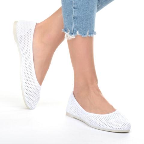 Női Fehér Hálós Szintetikus Balerina Cipő