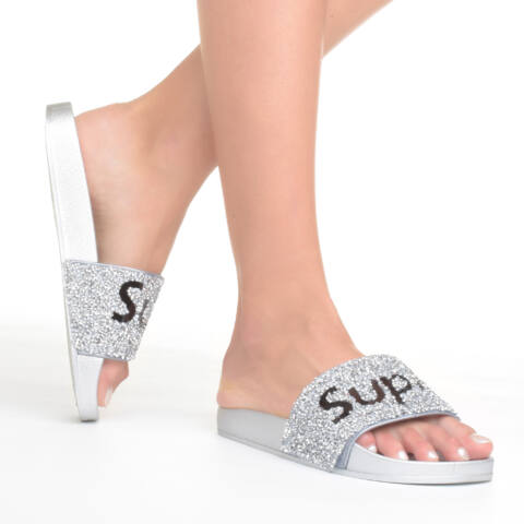 Super Női Ezüst Flitteres Szintetikus Papucs