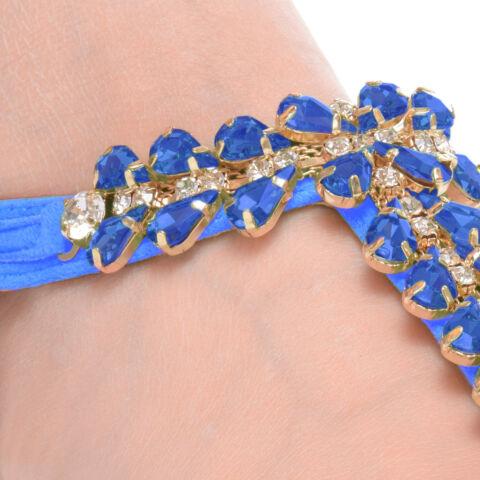 Strasszköves női Kék színű szandál