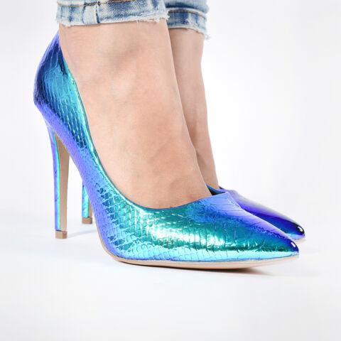 Női Fényes Kék Kígyóbőr Lakk Magassarkú Cipő