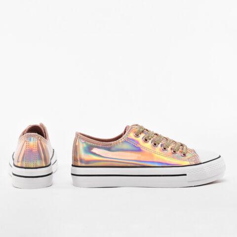 Rózsaarany színű hologramos lakk tornacipő