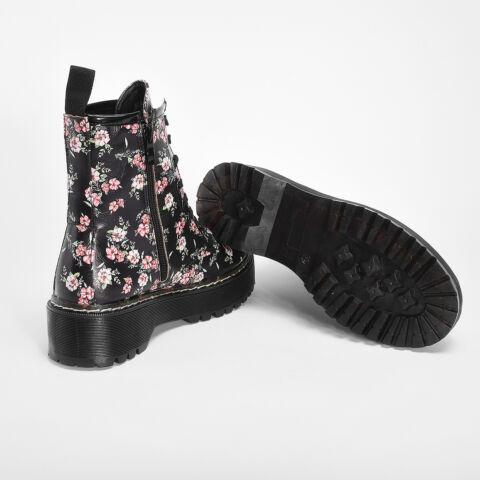 Fekete Virágmintás Női Bakancs