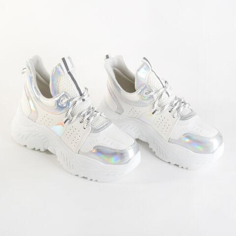 Fehér Ezüstös Magas Talpú Műbőr Utcai Cipő