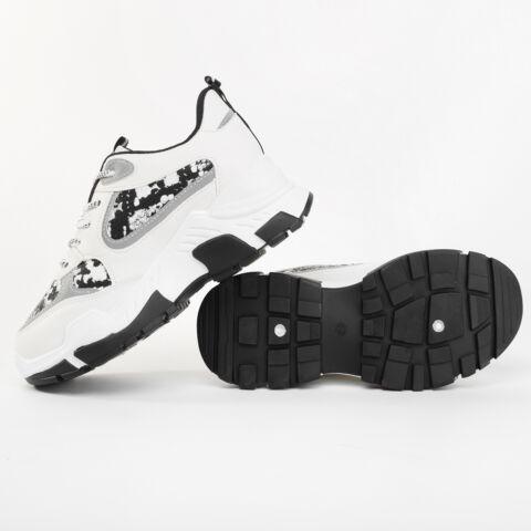 Fehér Kígyómintás Műbőr Fényvisszaverős Utcai Cipő