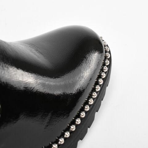 Fekete Bélelt Ezüst Gyöngyös Női Bokacsizma