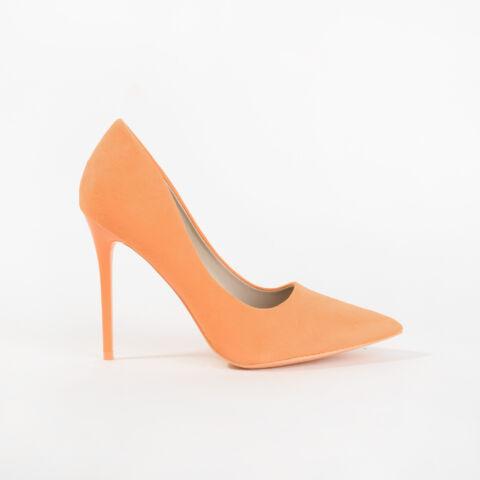 Neon Narancssárga Művelúr Magassarkú Cipő