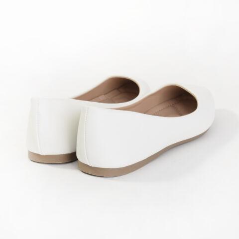 Fehér Műbőr Balerina Cipő