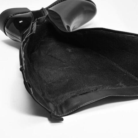 Fekete Művelúr-Lakk Magasszárú Bélelt Női Csizma
