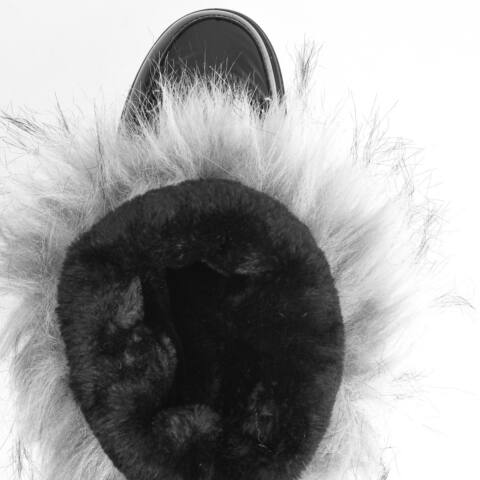 Fekete PVC Vízálló Bélelt Női Hótaposó