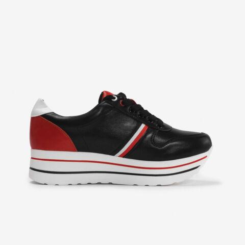 Fekete-piros Műbőr Utcai Cipő
