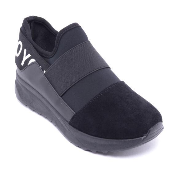 Fekete Női Művelúr / Műbőr Sportcipő