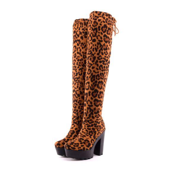 leopárd női művelúr magassarkú csizma