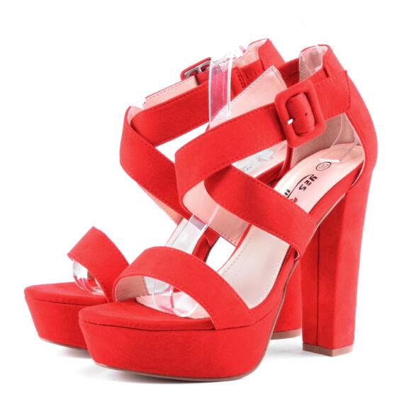 Piros csatos női művelúr magassarkú
