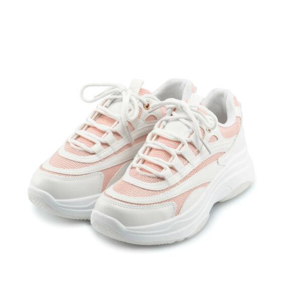 Fehér-Rózsaszín Női Műbőr Sportcipő