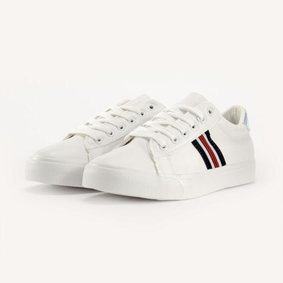 Fehér / Rózsaszín Női Műbőr Sportcipő