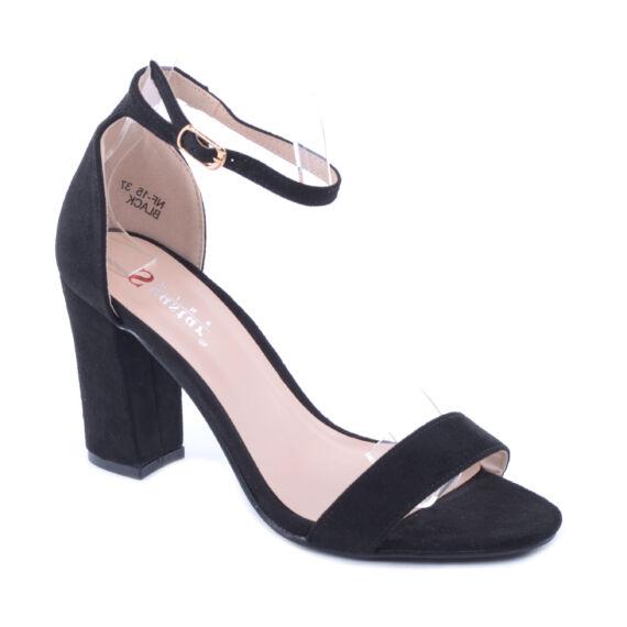 Női Művelúr Magassarkú Cipő Fekete