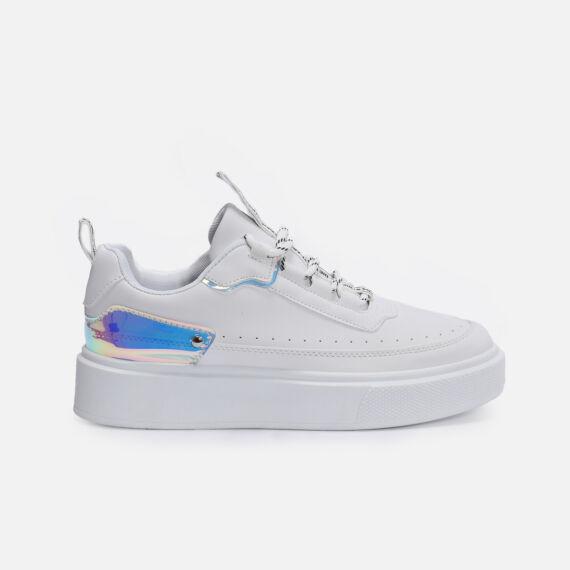 Fehér műbőr Lakkbetétes utcai cipő