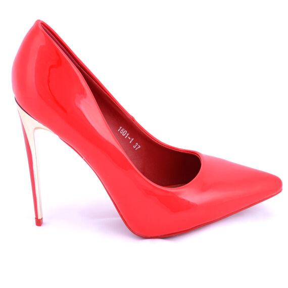 Női Piros  Színű Aranyozott Sarkú Lakk Magassarkú