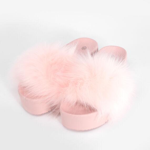Rózsaszín Női Szőrös Poliészter Papucs
