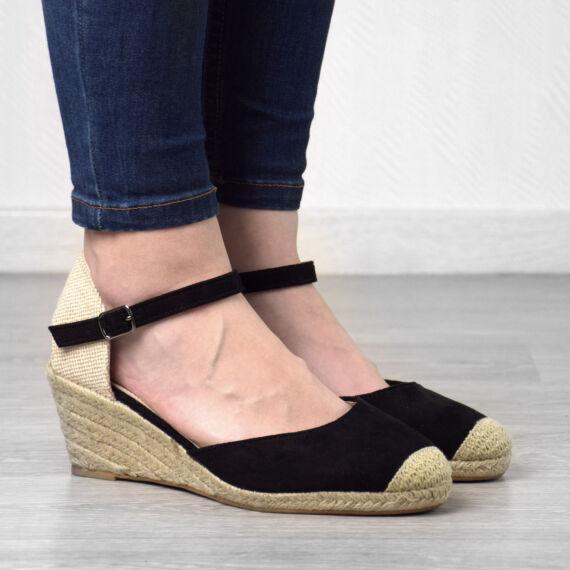Fekete Női Művelúr Magastalpú Cipő