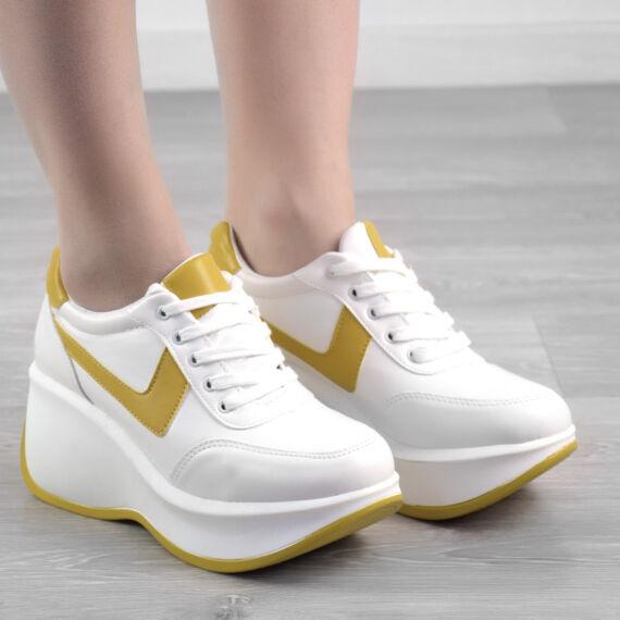 Fehér/sárga női műbőr magas talpú cipő