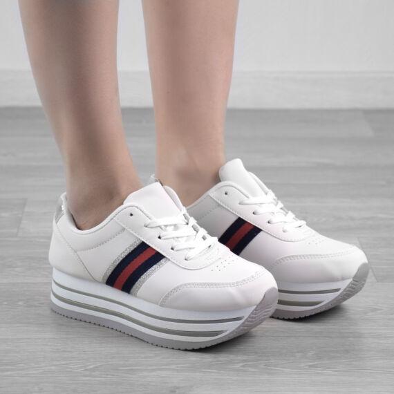Fehér Női Műbőr Magastaplú Utcai Cipő