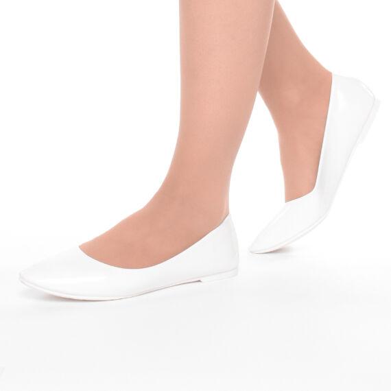 Női Fehér Lakk Hegyes orrú Balerina Cipő