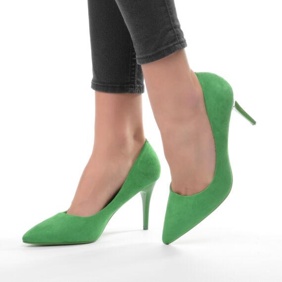 Női Zöld Művelúr Magassarkú