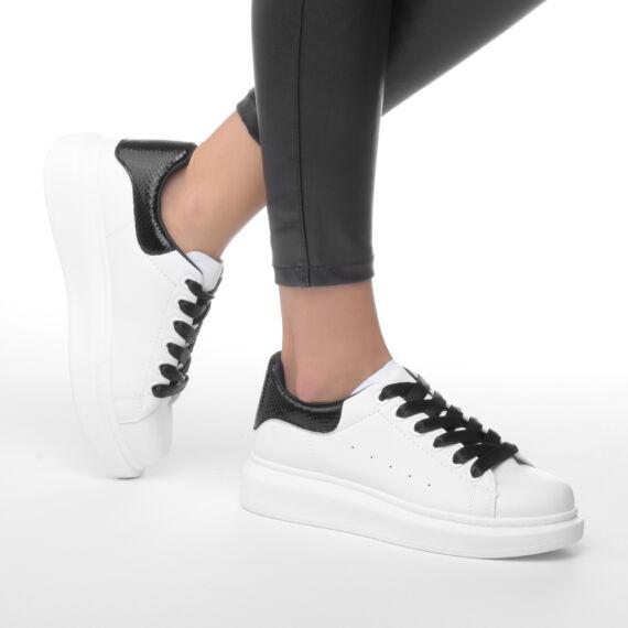 Női Fehér-Fekete Magas talpú Műbőr Utcai Cipő