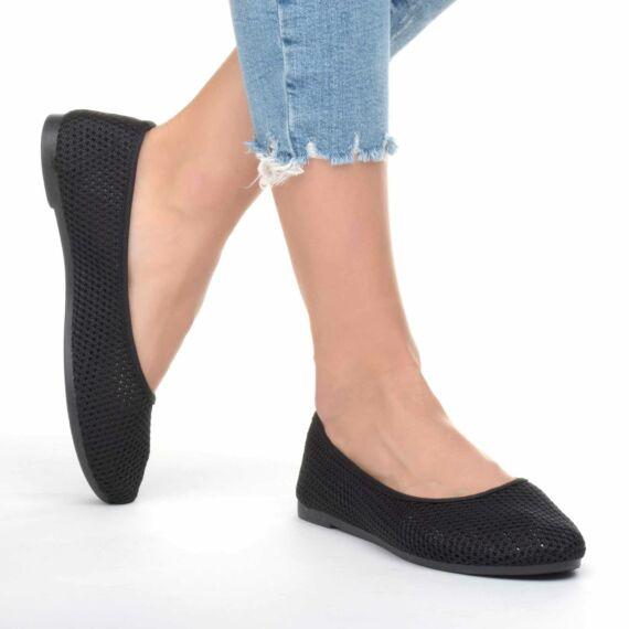 Női Fekete Hálós Szintetikus Balerina Cipő