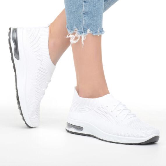 Női fehér bebújós szintetikus sportcipő