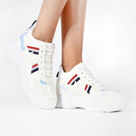 Női Fehér Műbőr Sportcipő