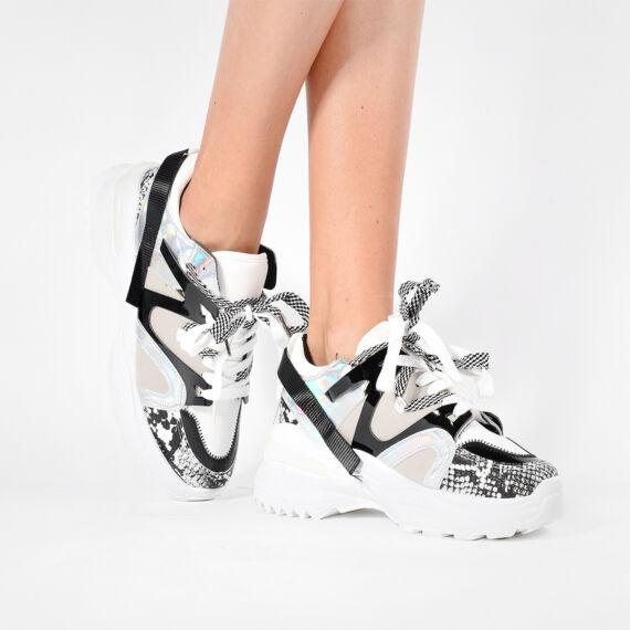 Fehér Kígyóbőr Mintás Női Magas Talpú Cipő