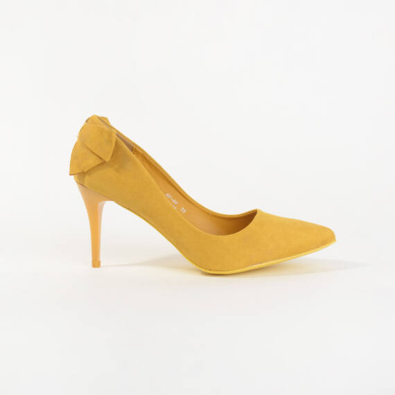 Sárga Masnis Művelúr Magassarkú Cipő