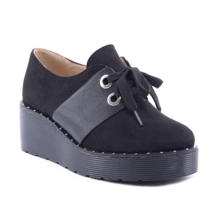 Női Művelúr Félcipő Cipő Fekete - MAGAS TALPÚ - Női cipő webáruház-női  csizmák 27fe0d5388