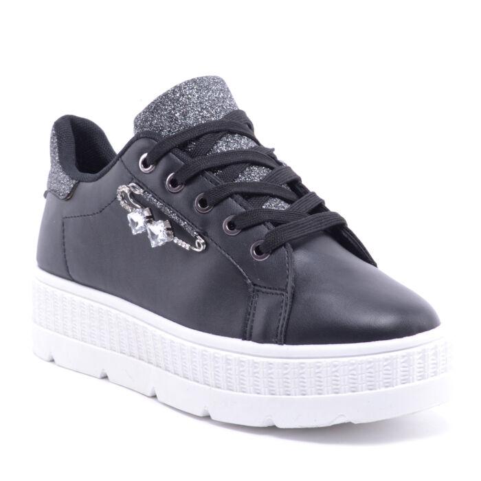 Fekete Női Műbőr Sportcipő - MAGAS TALPÚ - Női cipő webáruház-női ... 57078896f9