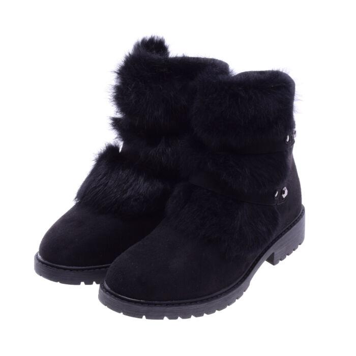Női Fekete Művelúr Bakancs - BOKACSIZMÁK - Női cipő webáruház-női csizmák a4f88c89d3