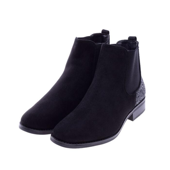 Női Fekete Művelúr Bokacsizma - BOKACSIZMÁK - Női cipő webáruház-női  csizmák f2ec498118