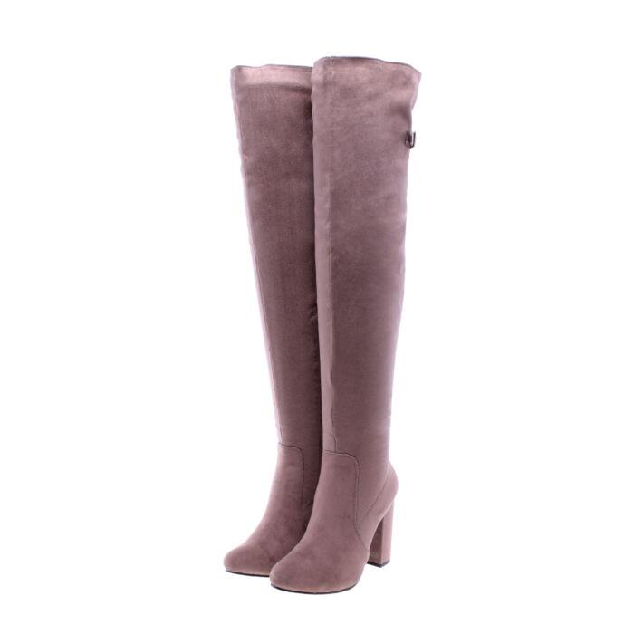Khaki női művelúr hosszúszárú magassarkú csizma - MAGASSZÁRÚ CSIZMÁK - Női  cipő webáruház-női csizmák 543258f507