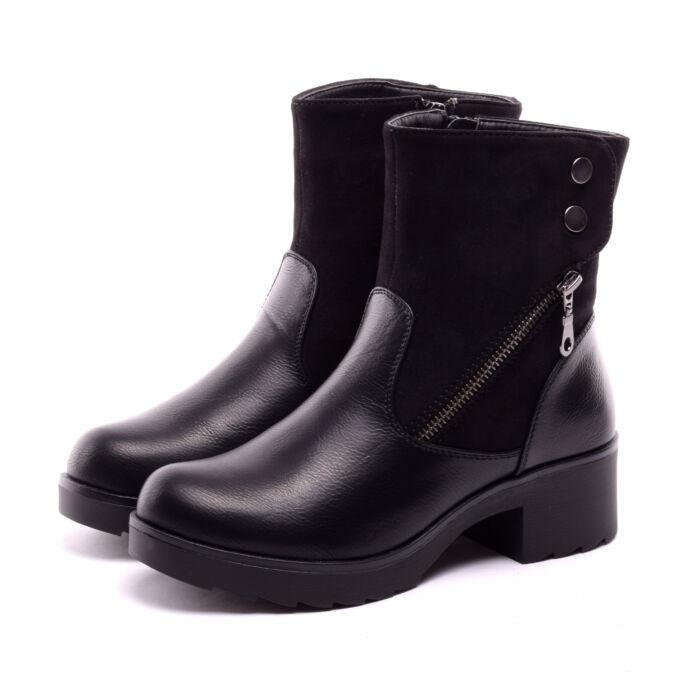 Női Fekete Művelúr Bokacsizma - CSIZMÁK - Női cipő webáruház-női csizmák cea1fbf21f