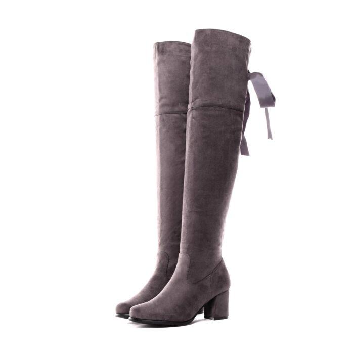 Női Szürke Művelúr Magasszárú Csizma - MAGASSZÁRÚ CSIZMÁK - Női cipő  webáruház-női csizmák e9227a48af