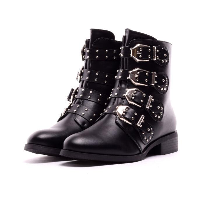 Női Fekete Csatos Műbőr Bokacsizma - BOKACSIZMÁK - Női cipő webáruház-női  csizmák af7b37d367