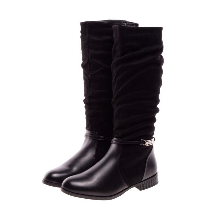 Női Fekete Művelúr Csizma - MAGASSZÁRÚ CSIZMÁK - Női cipő webáruház-női  csizmák 98df5fff83