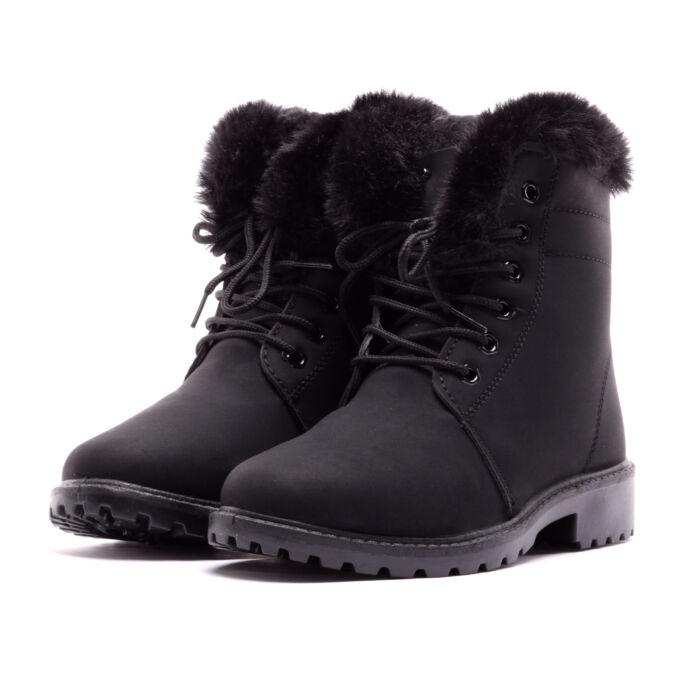 Női Fekete Műbőr Bundás Bakancs - BAKANCSOK - Női cipő webáruház-női ... 9755aa15c8