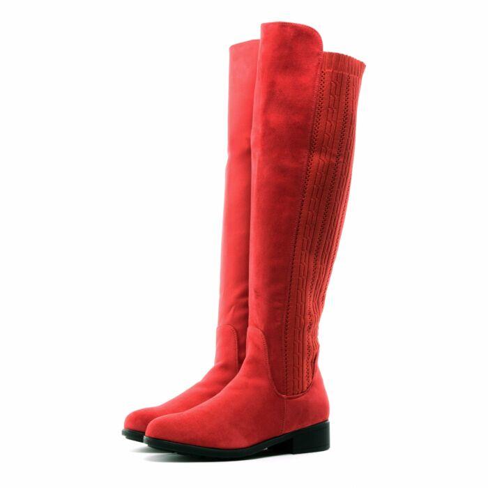 Női Piros Művelúr Hosszúszárú Csizma - MAGASSZÁRÚ CSIZMÁK - Női cipő ... 91ae4b47ea